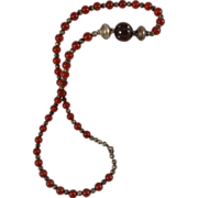 """SALE Carnelian Bead Silver Tone Repousse Handcrafted Necklace 30.5"""""""