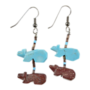 SALE Native American Fetish Bear Turquoise Natural Stone Dangle Sterling Silver Earrings