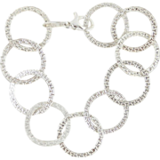 SALE Sterling Silver KA 1772 Karizia Ring Link Bracelet Made In Italy Size Medium