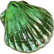 SALE Iridescent Green Glass Shell Paperweight