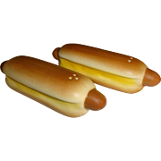 SOLD Pair of Hot Dogs with Buns Salt and Pepper Shakers