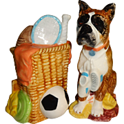 SALE Boxer Dog with Sporting Goods Salt and Pepper Shakers