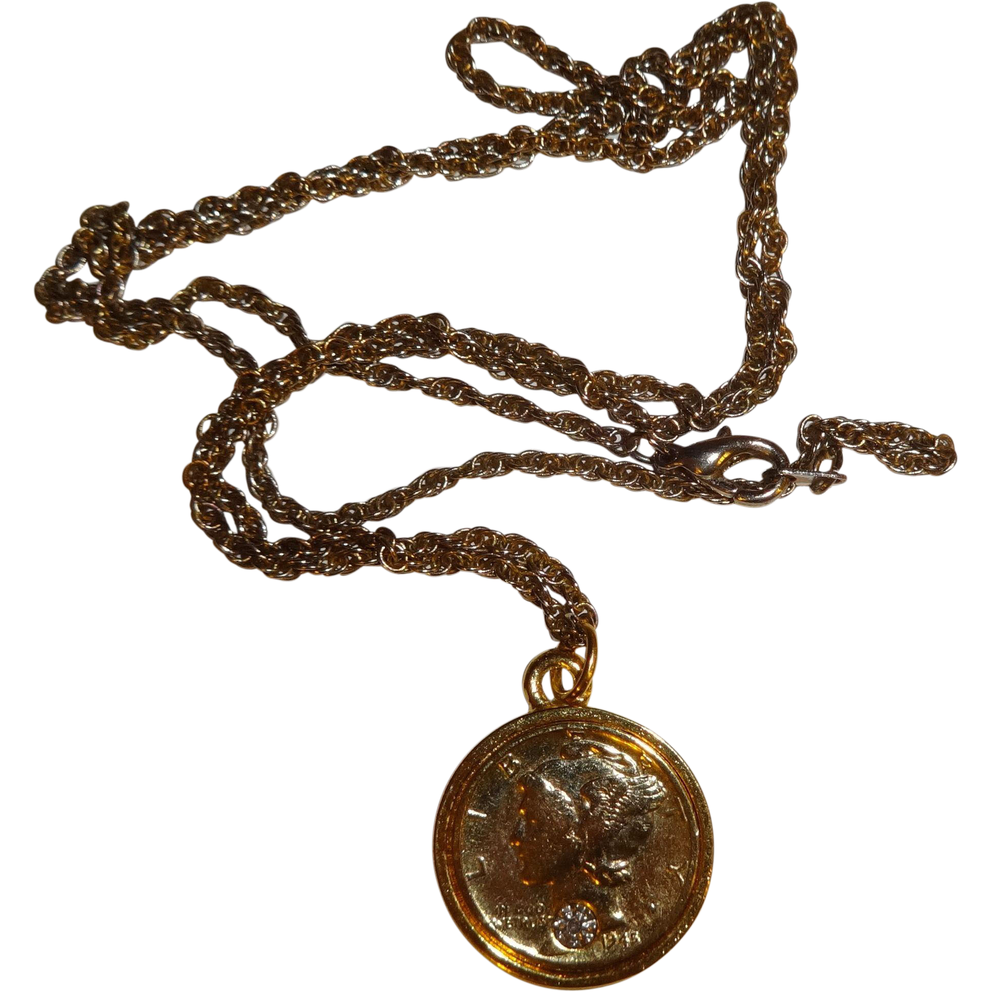gold plated 1945 mercury dime chip necklace