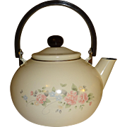 SALE Enamelware Flowered Tea Pot with Plastic Handle