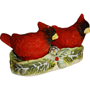 SOLD Red Cardinals on Snowy Pinecone Holder Salt and Pepper Shakers