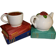SALE Book Lovers Teacup & Teapot Salt and Pepper Shakers