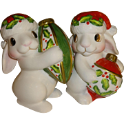 SALE Fitz and Floyd Christmas Bunny Blooms, Salt and Pepper Shakers