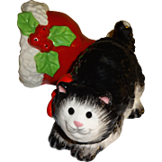 SALE Fitz and Floyd Cat and Santa Hat, Salt and Pepper Shakers