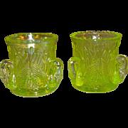 SALE Westmoreland Yellow Green Vaseline Glass Swan Toothpick Holders Set