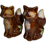 SALE Christmas Brown Foxes Salt and Pepper Shakers