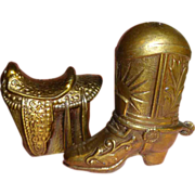 SOLD Western Cowboy Boot Saddle, Salt and Pepper Shakers