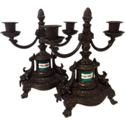 SALE 19th Century Bronze Candelabra Pair with Hand Painted Porcelain Accents