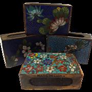Vintage Chinese Cloisonne Match Box Holder Set