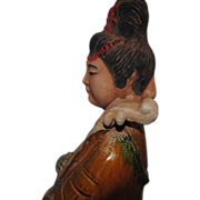 SALE Tang Style Chinese Pottery Lady with Lute Statue