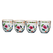 SALE 18th Century Chinese Porcelain Polychrome Famile Rose Cup Set