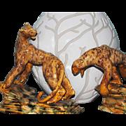 SALE 1946 Royal Hickman Leopard Statue Pair