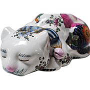 SALE Large 20th Century Chinese Porcelain Hand Painted Sleeping Cat