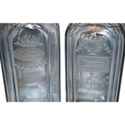 SALE 19th Century Acid Etched Lead Crystal Decanter Pair
