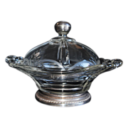 SOLD Vintage Cambridge Glass Butter Dish with Etched Lid and Sterling Silver Accents