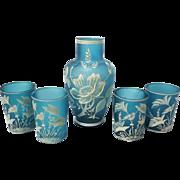 SALE Teal Bohemian Florentine Art Cameo Glass Set