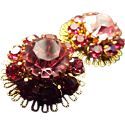 SALE Vintage Austrian Crystal Clip Earrings- Stunning!