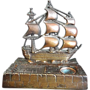 SALE 19th Century Brass Nautical Inkwell