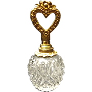 SALE Pressed Glass Gilded Brass Heart Capped Perfume Bottle