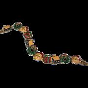 SALE Vintage Enamel Holiday Christmas Slide Bracelet