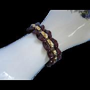 SALE Napier Eggplant Enamel and Gold Tone Bracelet
