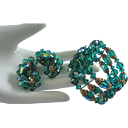SALE Emerald Green, AB Crystals Coil Bracelet and Earring Set
