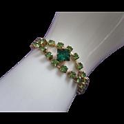 SALE Vintage Peridot and Emerald Green Rhinestone Bracelet