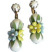 SALE White Plastic Dangle Earrings with Floral Accents