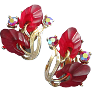 SALE Luscious Red Lucite Flowers and AB Rhinestone Earrings