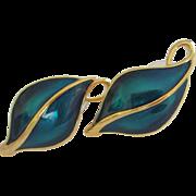 SALE Vintage Trifari Teal Green Enamel Leaves Pierced Earrings