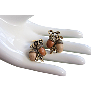 SALE Faux Wood Grain Acorn Earrings