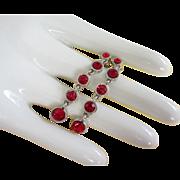 SALE Dangling Ruby Red Rhinestone Earrings, Pierced
