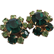 SALE Vintage Peridot and Emerald Green Rhinestone Earrings