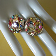 SALE Brightly Colorful Metallic Confetti Lucite Earrings