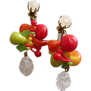 SALE West Germany Colorful Fruit Salad Dangly Earrings