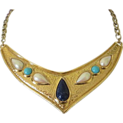 SALE Fabulous Avon Bib Necklace with Faux Lapis, Turquoise and Pearls