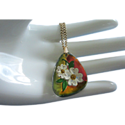 SALE Reverse Carved Enamel Dogwood Blossoms Glass Pendant Necklace