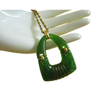 SALE Vintage Jade Green Articulated Lucite Pendant Necklace