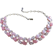 SALE Vintage Two Tone Pink Leafy Moonglow Lucite Necklace