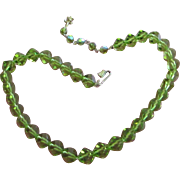 SALE Dazzling Vendome in Rare Olivine Green Crystal Necklace