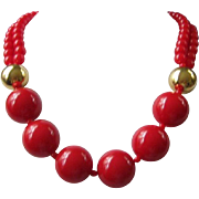 SALE MONET Bold Red and Gold Bead Necklace