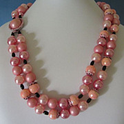 SALE Hong Kong Pink and Peach Beads Double Strand Necklace