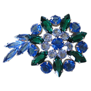 SALE Beautiful Sapphire and Emerald Green Rhinestone Brooch ~ Comet with Tail