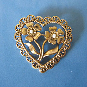 SALE Vintage Flowers with Faux Pearls in Heart Pin Brooch