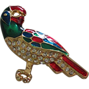 SALE Colorful Enamel Parrot with Rhinestones Pin