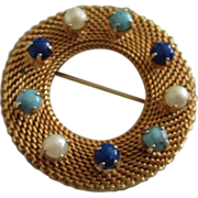 SALE Circular Mesh Brooch with Faux Turquoise, Lapis Lazuli and Pearls